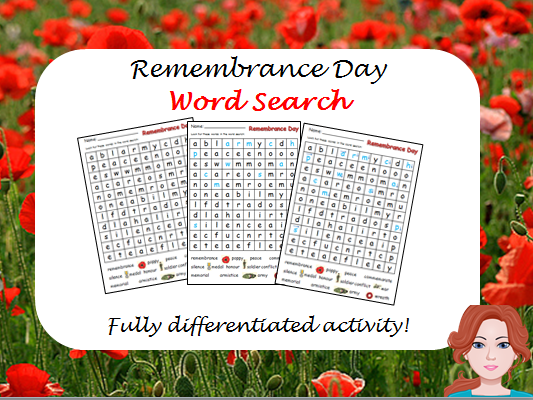 Remembrance Day - wordsearch (differentiated)