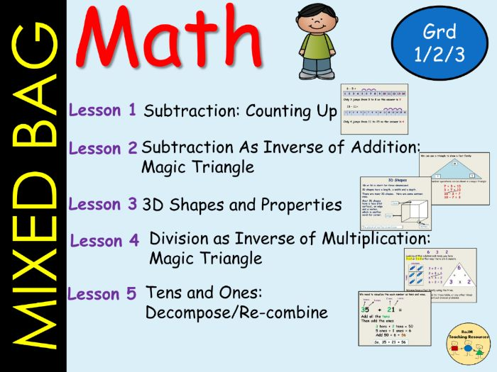 Mixed Math Bag Subtraction Counting up Inverse Fact Families Tens and Ones Worksheets PPT