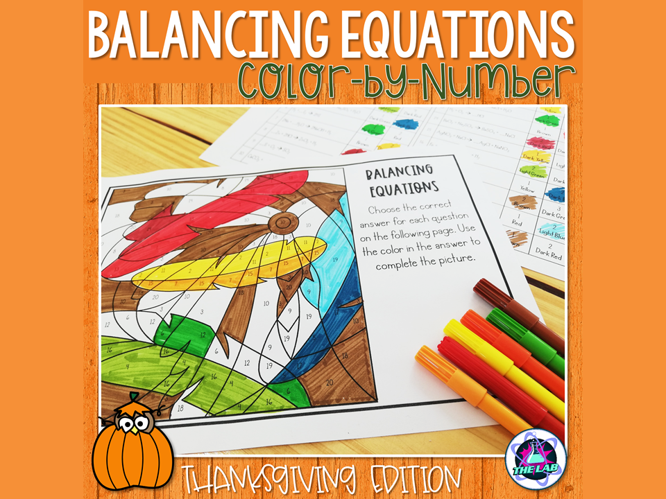 Balancing Equations Colour by Number Activity