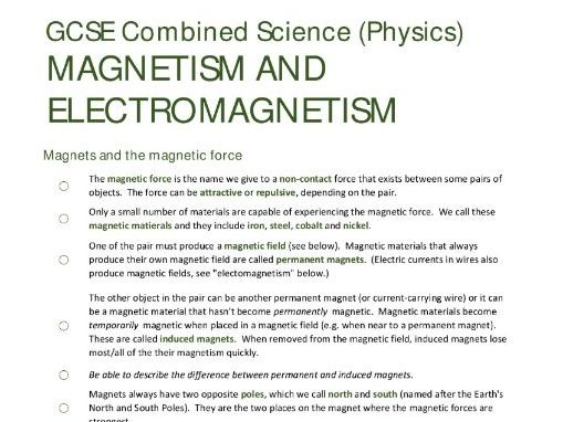 MAGNETISM & ELECTROMAGNETISM unit summary/checklist for AQA GCSE Combined Science: Trilogy (Physics)