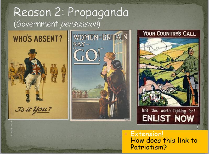 Why did James Lovegrove go to war? WW1 Recruitment lesson
