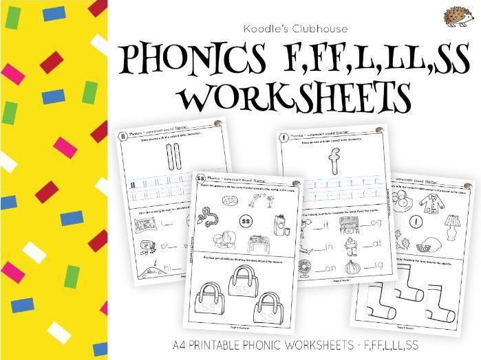 Phonics F,FF,L,LL,SS worksheets