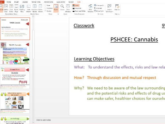 PSHE: Drugs Education: Lesson on Cannabis