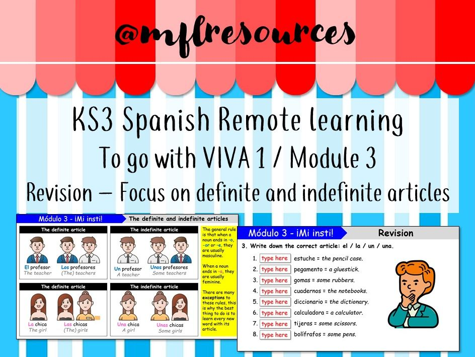 KS3 Spanish (remote learning) - Viva 1 - Module 3 - Revision (the definite and indefinite articles)
