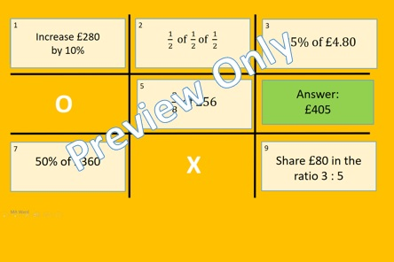 Fractions Decimals Percentages Noughts and Crosses Powerpoint Game 2
