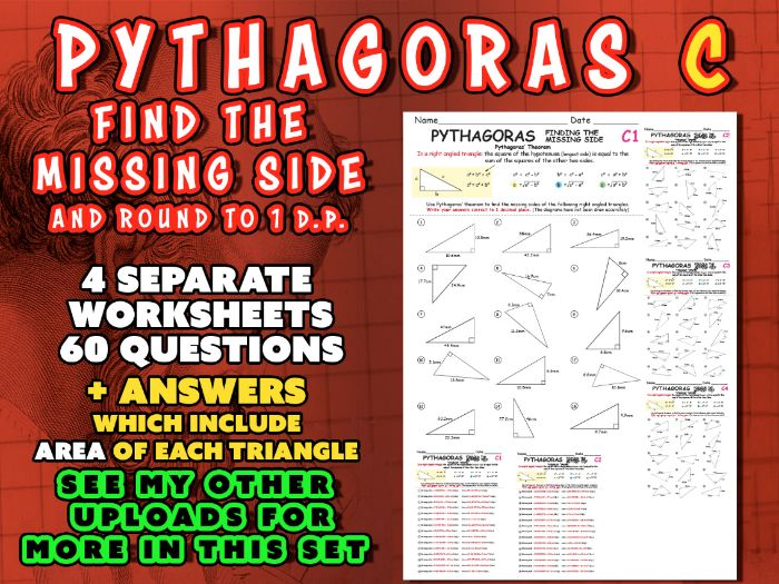 PYTHAGORAS (SET C) Find the MISSING SIDE and ROUND ANSWER