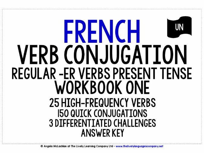 FRENCH REGULAR -ER VERBS CONJUGATION PRESENT TENSE - WORKBOOK & ANSWER KEY