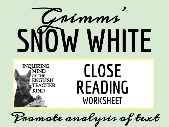 """Grimms' """"Snow White"""" Close Reading Worksheet"""