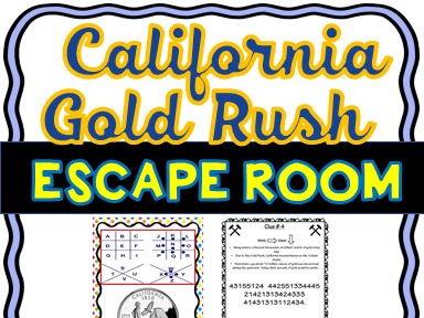 California Gold Rush Escape Room Activity- U.S. Westward Expansion