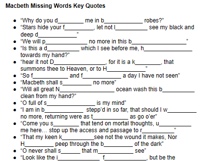 Macbeth: Missing Words from Key Quotes (Worksheet)