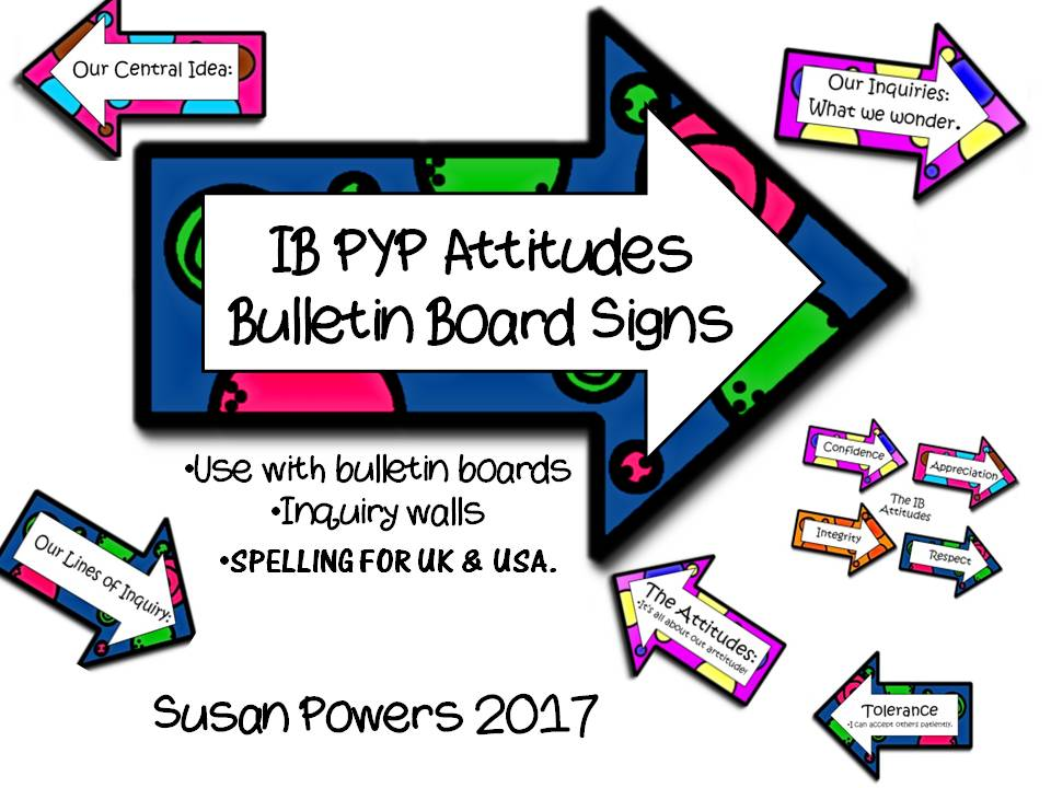 IB PYP Bulletin Board Signs for IB Attitudes