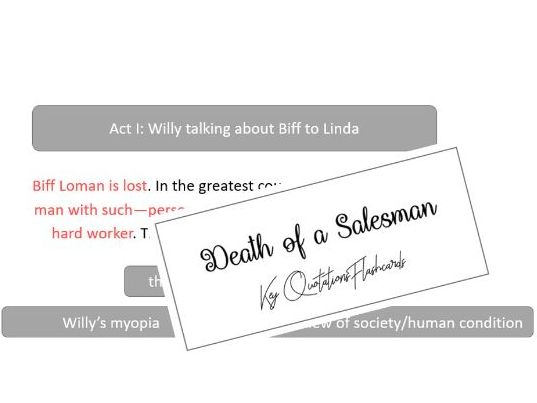 Death of A Salesman Key Quotations Flashcards (AQA A-Level Literature)