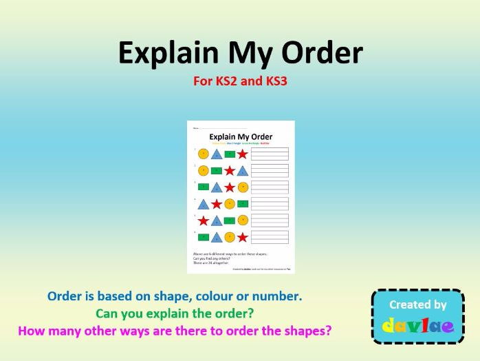 Explain My Order For KS2 and KS3
