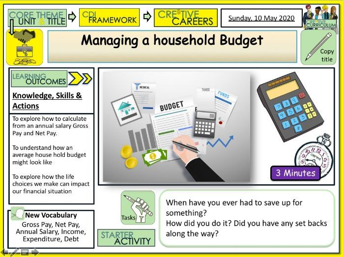 Managing a household budget Careers Lesson