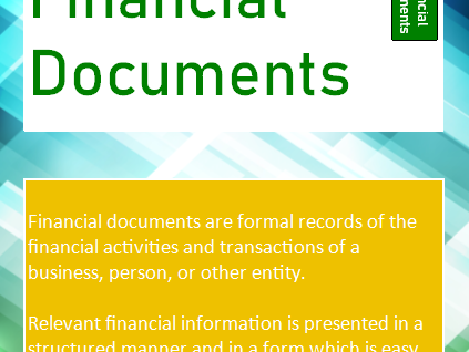 Financial Documents Tech Award Enterprise (Component 3) - Display, Handout, Posters