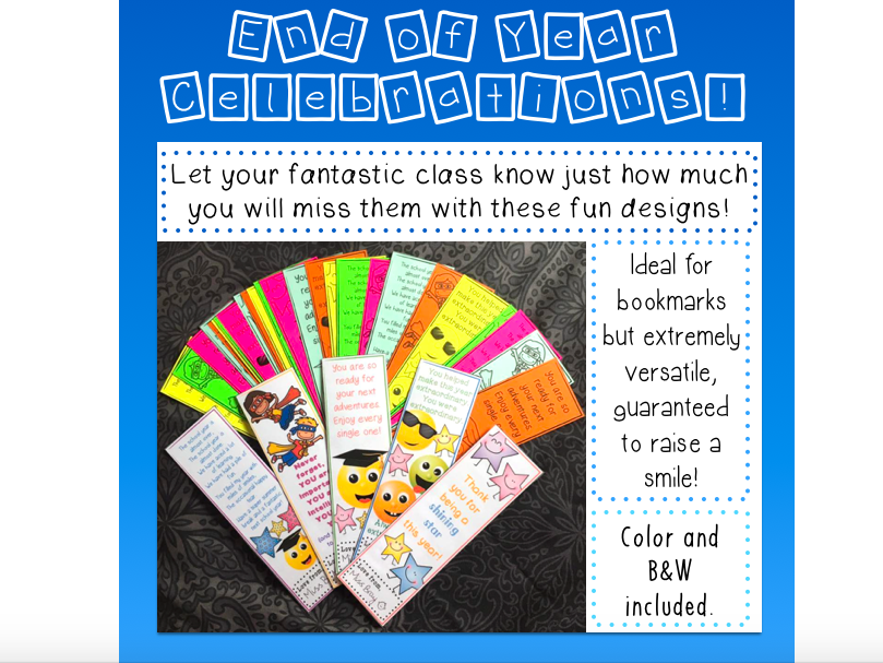 End of Year Celebration Bookmarks