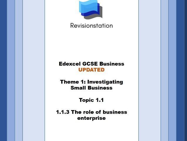 Edexcel GCSE Business - Theme 1 Investigating small business - 113 The role of business enterprise