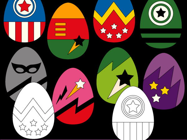Easter eggs superhero clipart in bright colors