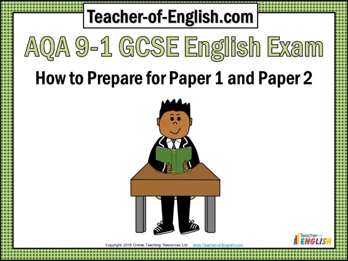 AQA 9-1 GCSE English Exam - Paper 1 and Paper 2 (389 slide editable PowerPoint with 75 worksheets)