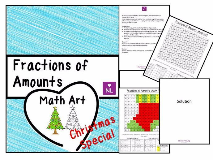 Fractions of Amounts Christmas Special (Math Art) by NumberLoving ...
