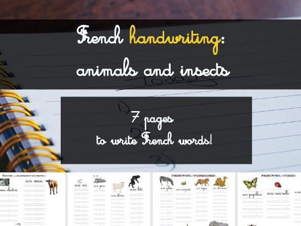 "French Handwriting (kids & illiterate): ""animaux et insectes"" (animals and insects)"