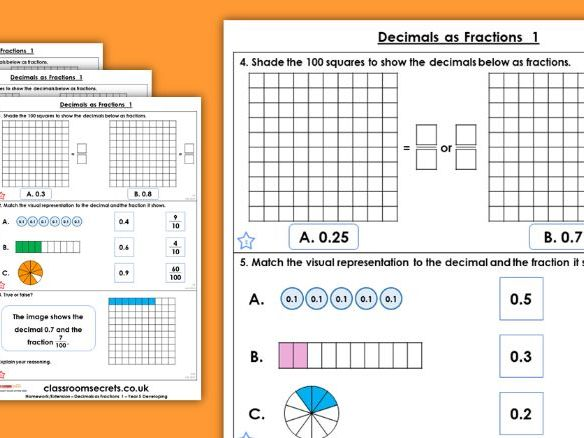 Year 5 Decimals as Fractions Spring Block 3 Maths Homework Extension