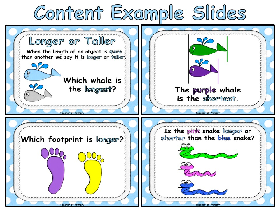 Longer or Shorter - Animated PowerPoint presentation and worksheet