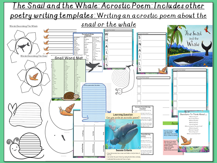 The Snail and the Whale- Writing an Acrostic Poem about the Snail or the Whale