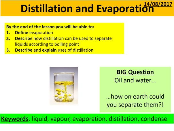 KS3 Distillation and evaporation