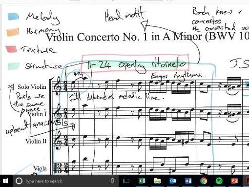 AQA Music A Level AoS 1 - Bach Violin Concerto Movement 1 Annotated