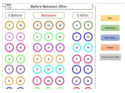 Before, Between and After Numbers