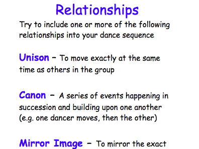 P.E Dance - Prompt Sheet and Relationship Task Card
