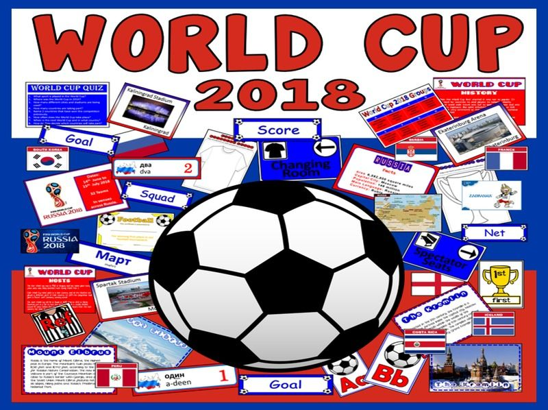 WORLD CUP TEACHING RESOURCES DISPLAY FOOTBALL SPORTS RUSSIA 2018 PE KS1-2