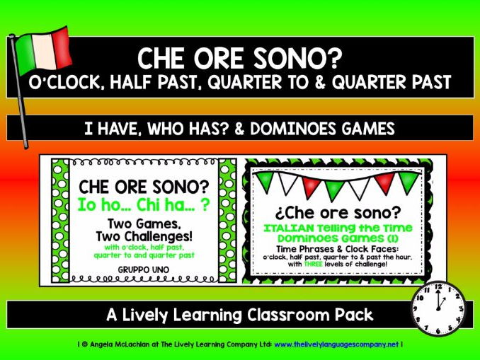 ITALIAN TELLING THE TIME (1) - FIVE GAMES & CHALLENGES PACK