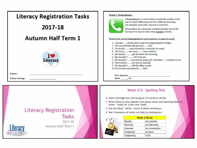 Literacy Activities - Teacher presentation and accompanying student booklet (HT1 wks 1 to 8)