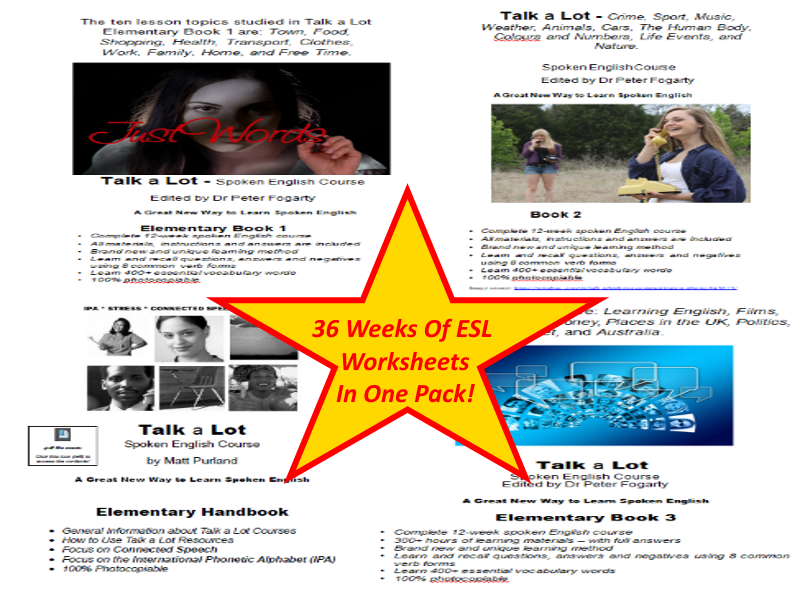 36-week spoken English course - 30 different English topics covered! Something For Every Day!