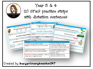 20 SPaG question strips linked to year 3 and 4 curriculum