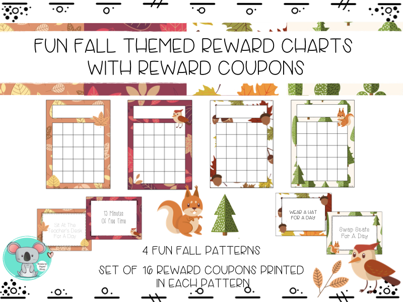 Reward Charts And Classroom Reward Coupons - Fall Themed