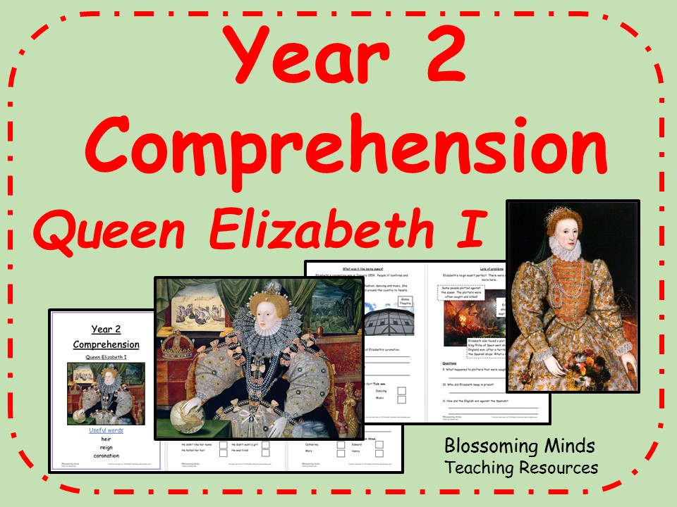 Women's History Month - Year 2 Reading Comprehension - Queen Elizabeth I - March