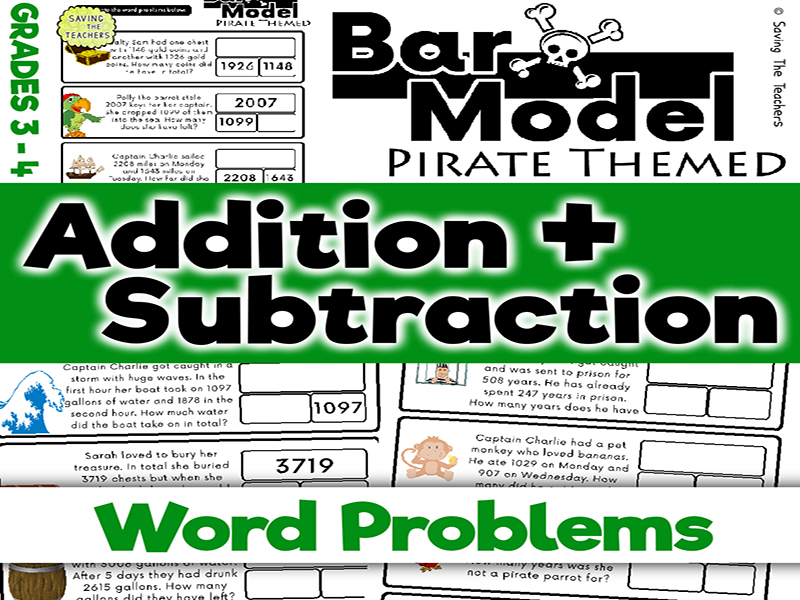 Pirates: Addition and Subtraction Bar Model Word Problems - Years 4 and 5