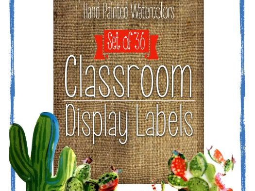 Classroom Supply Labels: Watercolor Cactus Themes