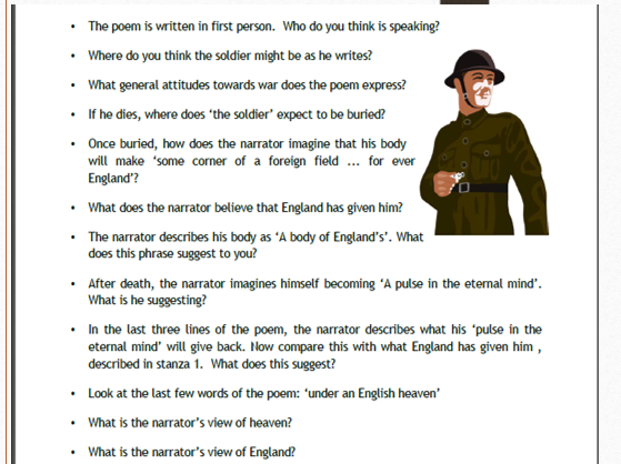 The Soldier   Poetry Themes and Conflict