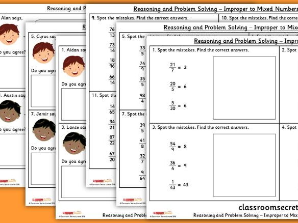 Year 5 Improper to Mixed Numbers WRM Fractions Reasoning and Problem Solving Pack