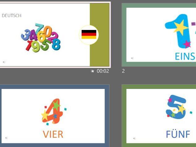 Numbers 1-12 in German