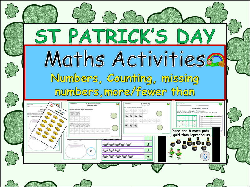 St Patrick's Day Counting,  Missing Numbers, More than/Fewer than Presentation and Worksheets YR/KS1
