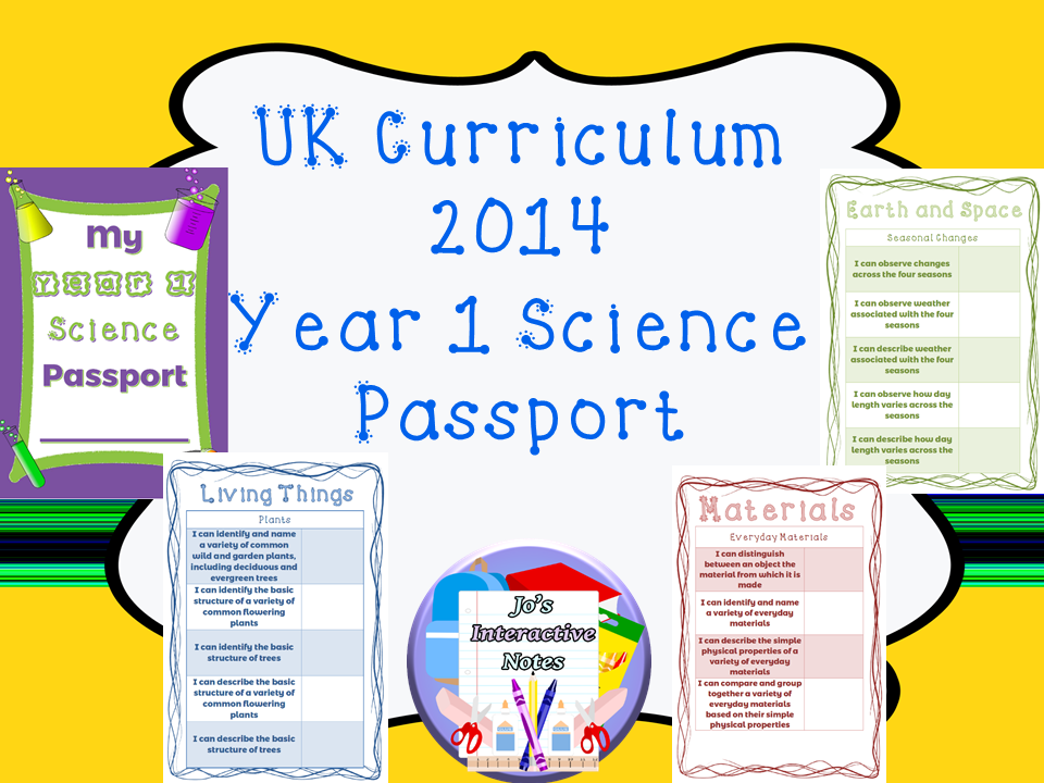 Year 1 National Curriculum Science Passport