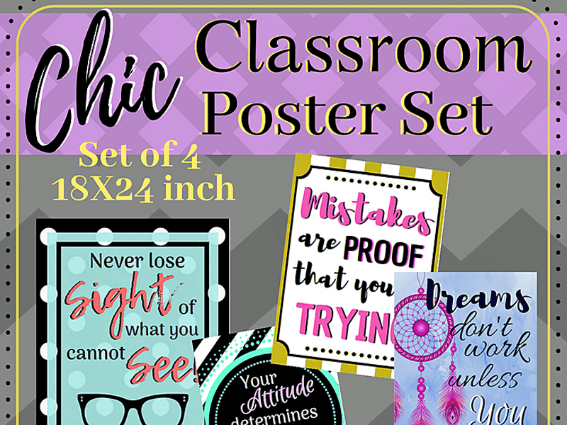 Chic Classroom Posters to Inspire (Printable, Set of 4)