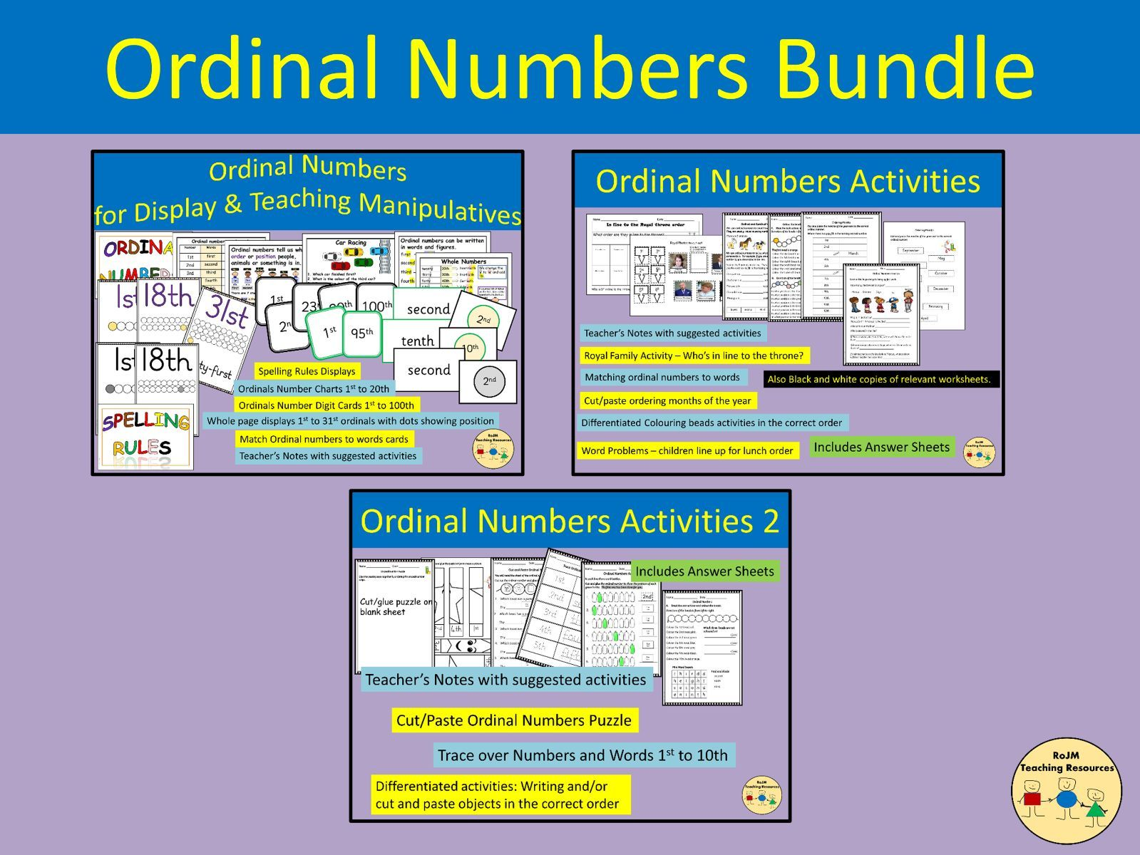 Ordinal Numbers Bundle Classroom Displays Worksheets Activities
