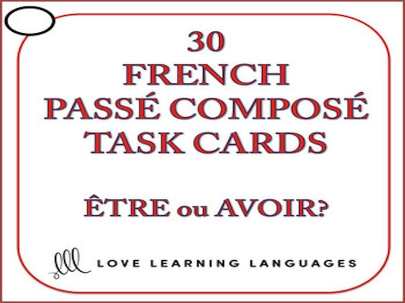 French Passé Composé with Être and Avoir Task Cards - Version 1