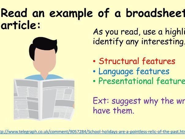 GCSE Broadsheet Article Writing Task